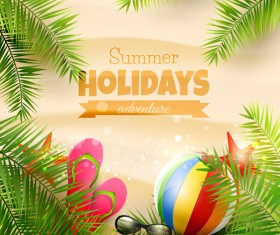 Palm leaves with summer beach background vector 02