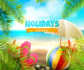 Palm leaves with summer beach background vector 03