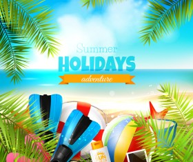 Palm leaves with summer beach background vector 04