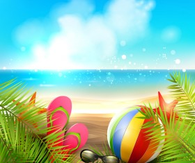 Palm leaves with summer beach background vector 05