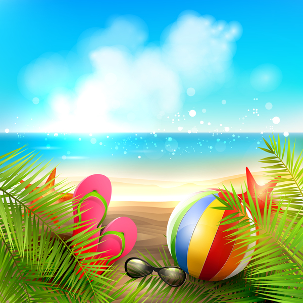Palm Leaves With Summer Beach Background Vector 05 Free