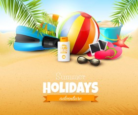 Palm leaves with summer beach background vector 06