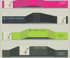 Paper banners infographic template design vector
