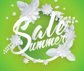 Paper cutting flower with summer sale background vector 01