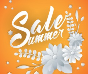 Paper cutting flower with summer sale background vector 02