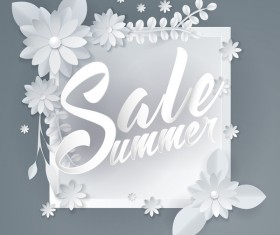 Paper cutting flower with summer sale background vector 03
