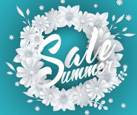 Paper cutting flower with summer sale background vector 04