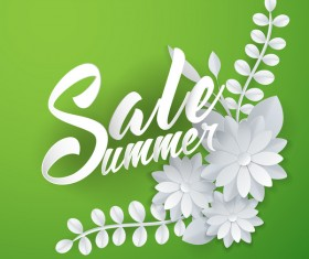 Paper cutting flower with summer sale background vector 05