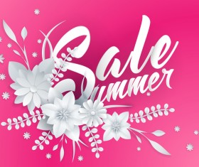 Paper cutting flower with summer sale background vector 06