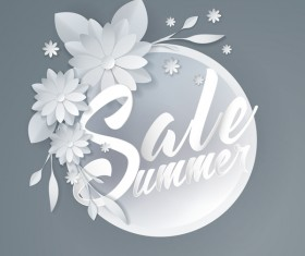 Paper cutting flower with summer sale background vector 07
