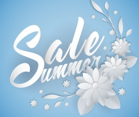 Paper cutting flower with summer sale background vector 08