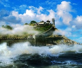 Penglai Court Mirage Wonders Stock Photo