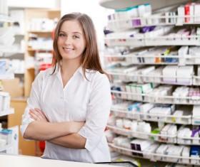 Pharmacy working woman Stock Photo