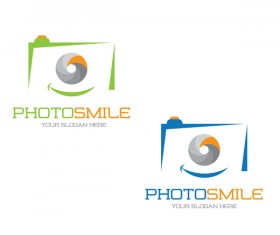 Photo smile logo design vector