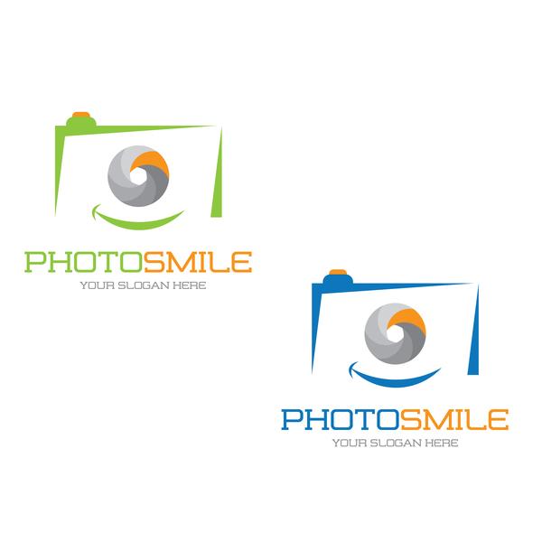 Photo smile logo design vector