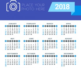 Photo with 2018 calendar vectors material