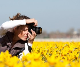 Photographers shooting flowers Stock Photo