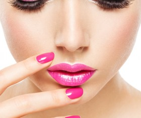 Pink nails pink lipstick and eye shadow girl Stock Photo 02