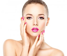 Pink nails pink lipstick and eye shadow girl Stock Photo 03