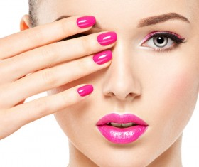 Pink nails pink lipstick and eye shadow girl Stock Photo 04