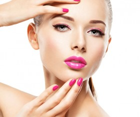 Pink nails pink lipstick and eye shadow girl Stock Photo 05