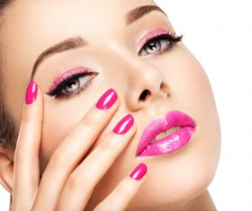 Pink nails pink lipstick and eye shadow girl Stock Photo 06