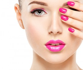 Pink nails pink lipstick and eye shadow girl Stock Photo 07