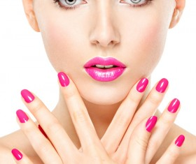 Pink nails pink lipstick and eye shadow girl Stock Photo 09