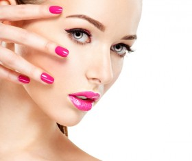 Pink nails pink lipstick and eye shadow girl Stock Photo 10