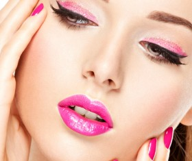 Pink nails pink lipstick and eye shadow girl Stock Photo 11