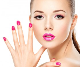 Pink nails pink lipstick and eye shadow girl Stock Photo 12