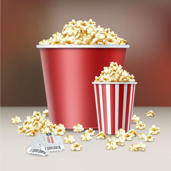 Popcorn and movie tickets vector