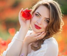 Poppy flower field beautiful girl HD picture 06