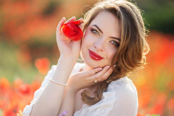 Poppy Flower Field Beautiful Girl Hd Picture