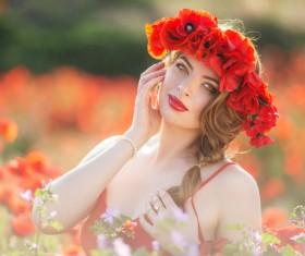 Poppy flower field beautiful girl HD picture 07