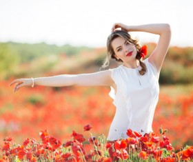 Poppy flower field beautiful girl HD picture 10