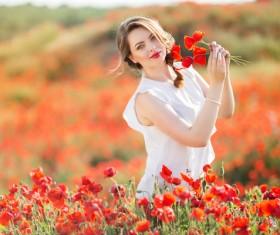 Poppy flower field beautiful girl HD picture 12