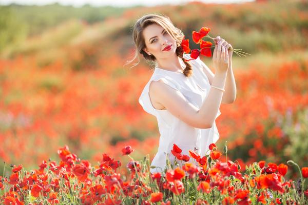 Poppy Flower Field Beautiful Girl Hd Picture 12 Free Download