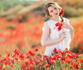 Poppy flower field beautiful girl HD picture 13