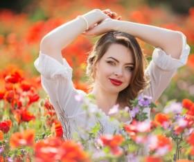 Poppy flower field beautiful girl HD picture 14