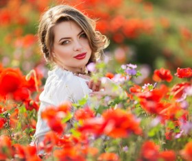 Poppy flower field beautiful girl HD picture 15
