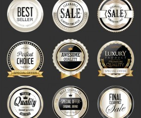 Premium and luxury silver and black retro badges and labels vector