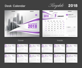 Purple calendar cover with 2018 desk calendar template vector 01