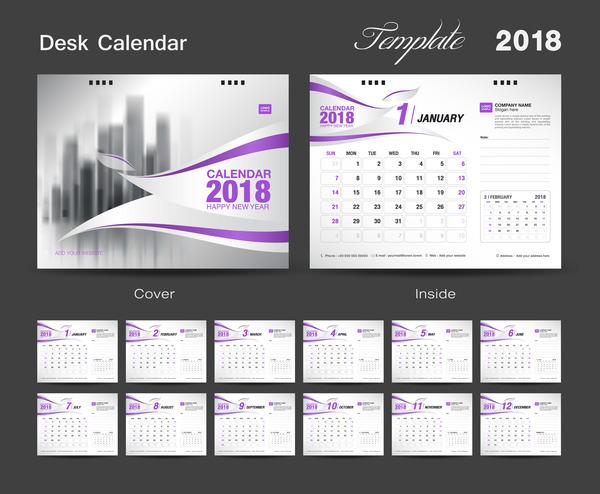 Purple calendar cover with 2018 desk calendar template vector 01