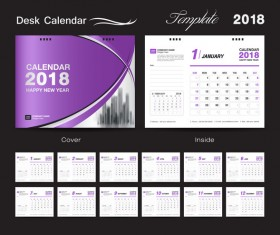 Purple calendar cover with 2018 desk calendar template vector 02