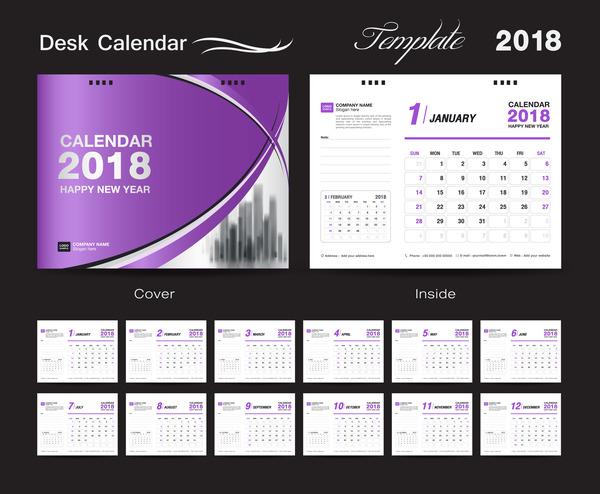 Purple calendar cover with 2018 desk calendar template vector 02