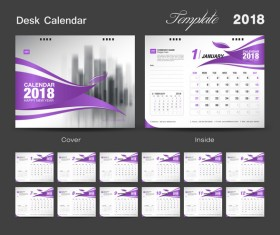 Purple calendar cover with 2018 desk calendar template vector 03