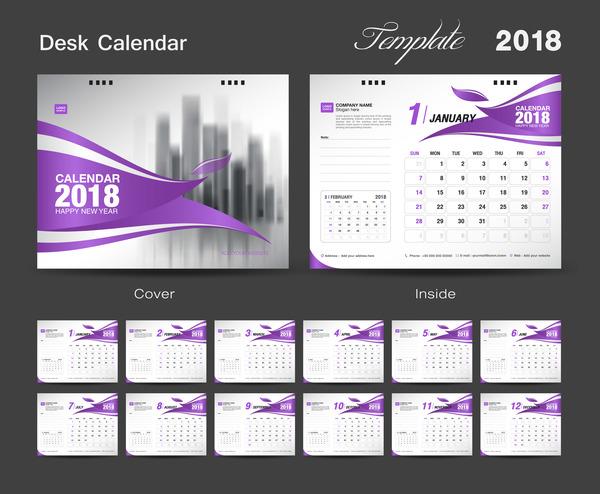 Purple calendar cover with 2018 desk calendar template vector 03