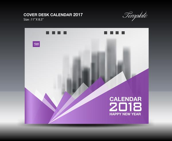 Purple cover desk calendar 2018 vector material 01