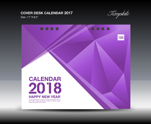 Calendar Cover 2018 : Purple cover desk calendar vector material